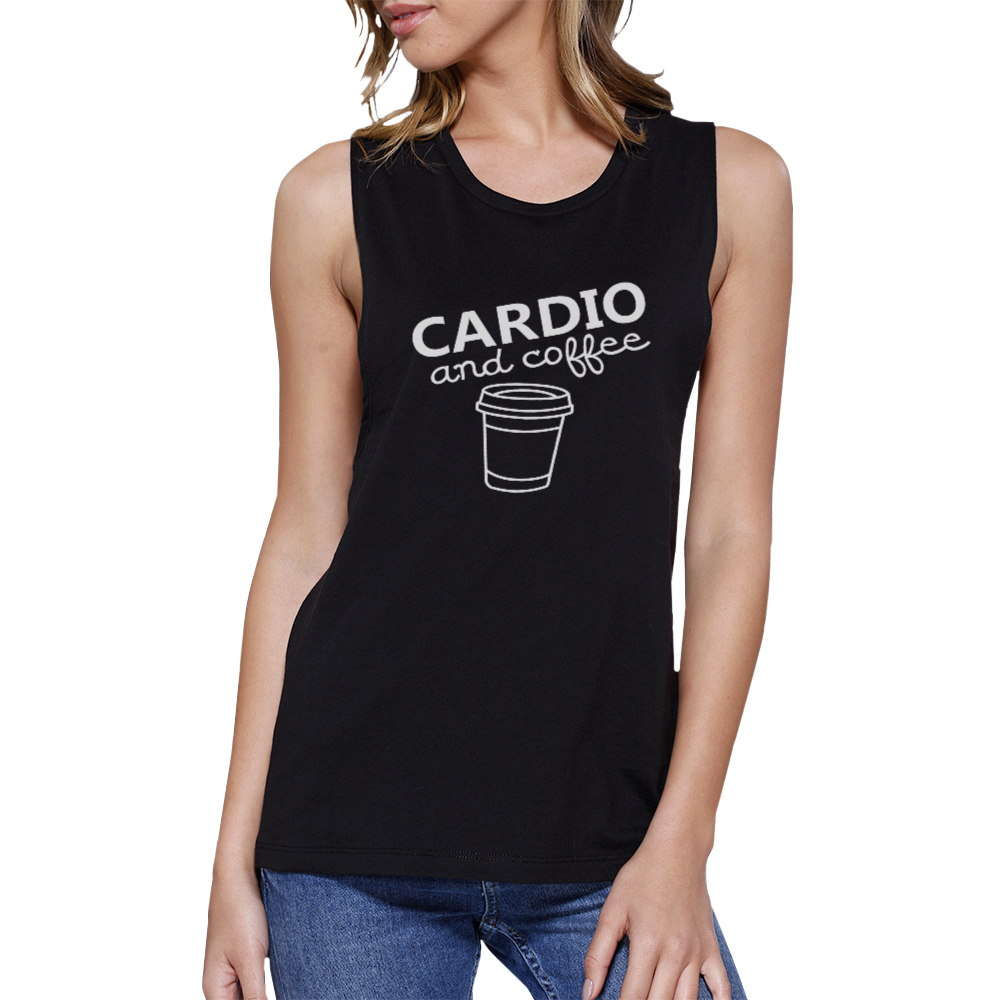 Cardio and coffee work out muscle tee cute gym sleeveless for T shirts for gym workout