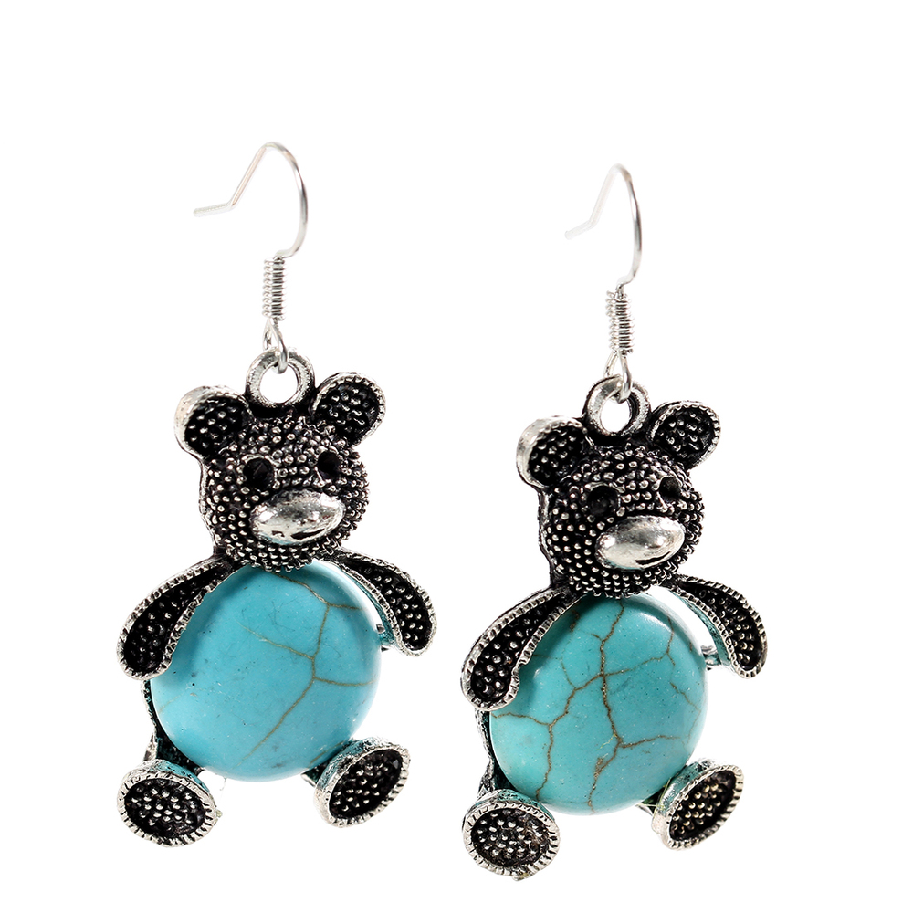 Cuddly Pave Bear Turquoise Earrings