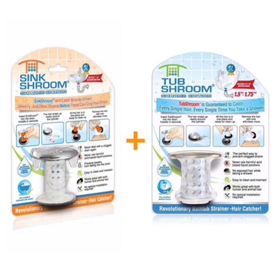 1 TubShroom Clear Original & 1 SinkShroom Chrome Edition Combo Pack