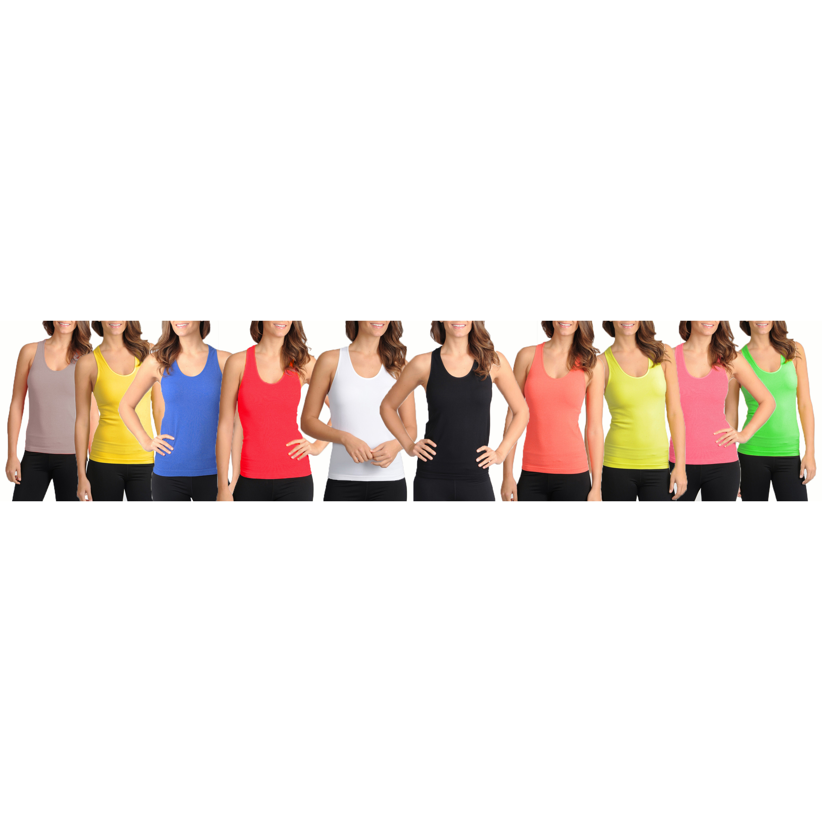 12-Pack Of Women s Ribbed Cotton Tank Tops 2912408