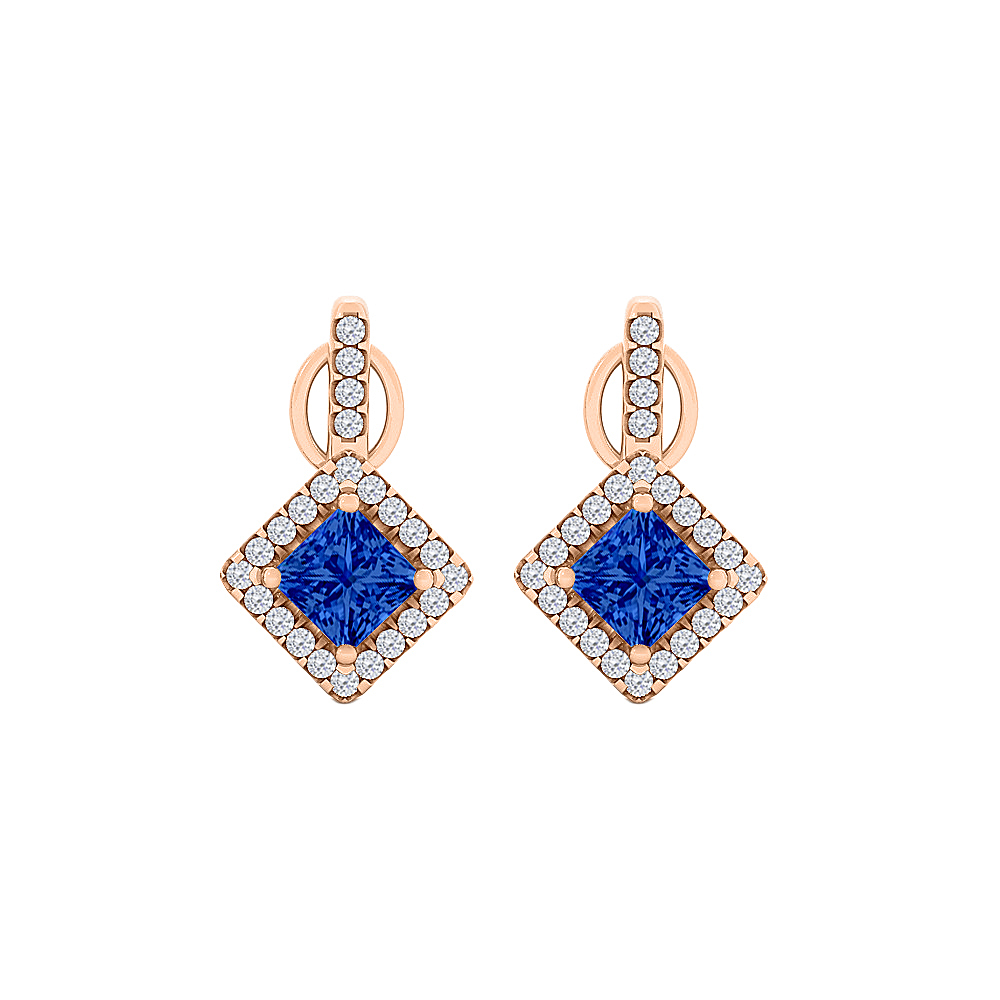 rhombus design sapphire cz square stud earrings gold tanga