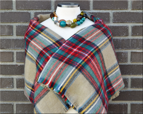 red  beige  u0026 green personalized blanket scarf