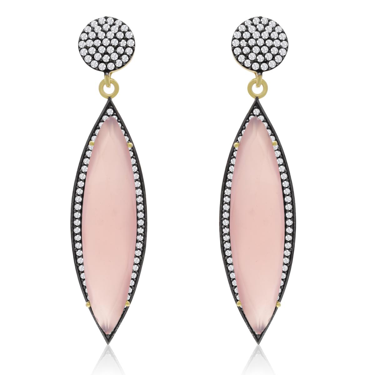 14k Yellow Gold 36ct Free Form Rose Quartz Earrings