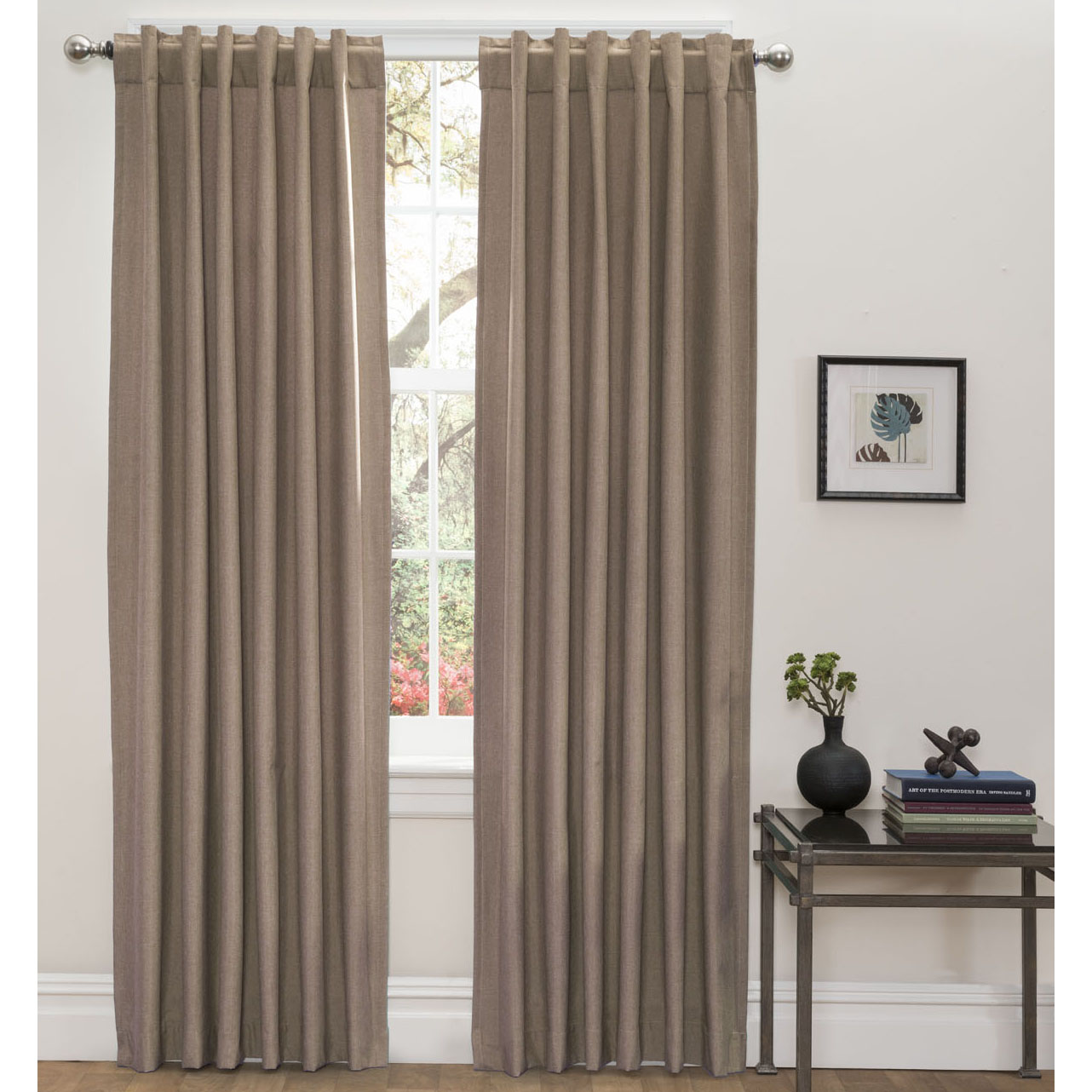 Set Of 2 Textured Thermal Blackout Window Curtain Panels