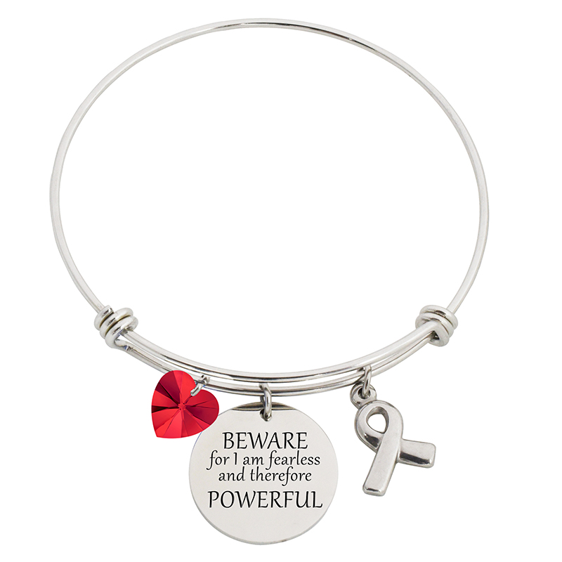 Beware For I Am Fearless Steel Bangle Bracelet With Swarovski Charms