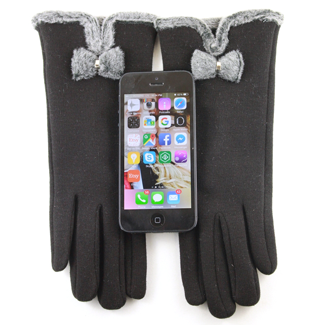 Ladies Touchscreen Driving Gloves With Bow - Assorted Colors