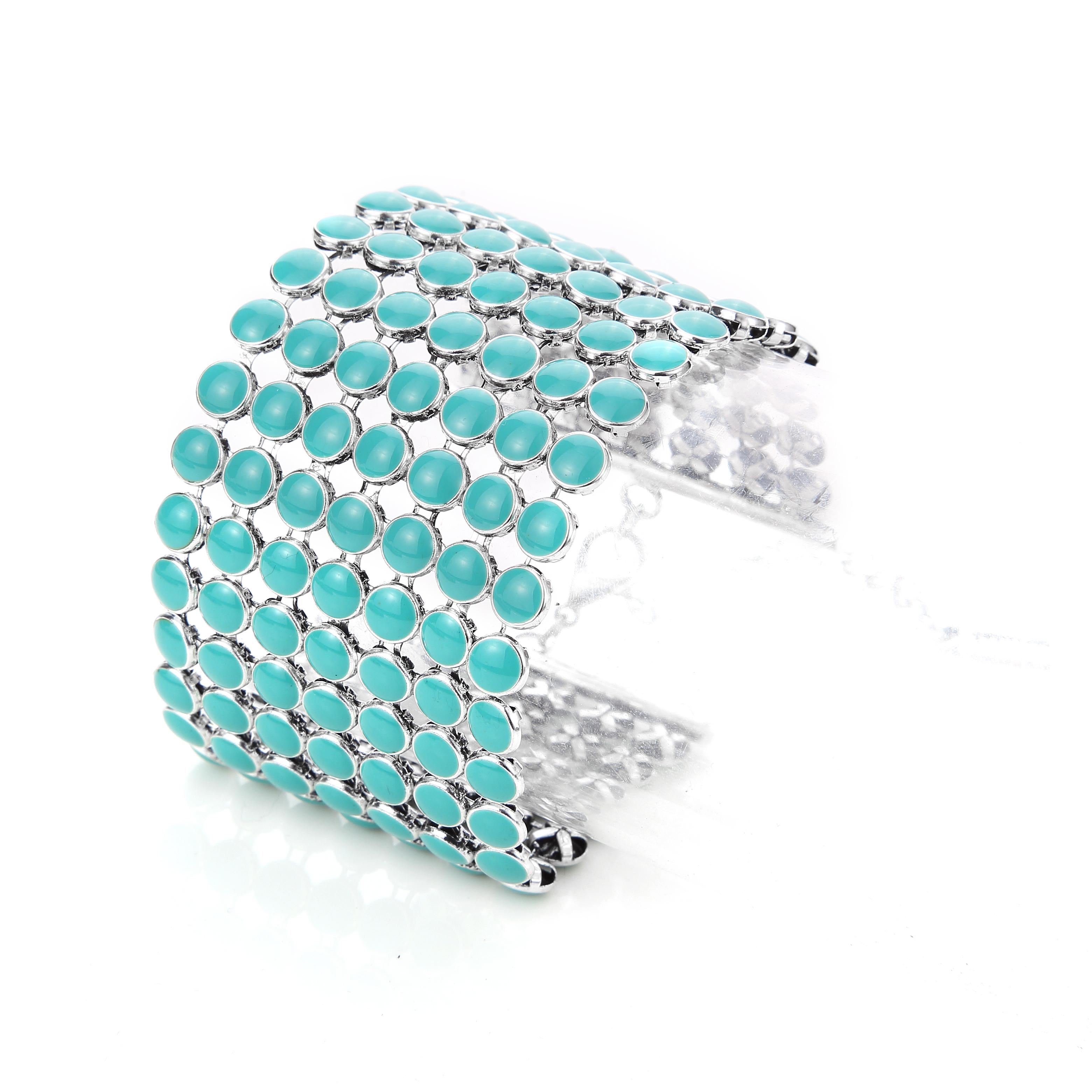 Mod Turquoise Stone Chrome Cuff