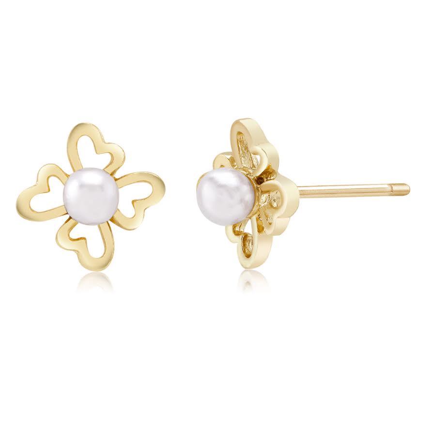 Heart Petal Flower Faux Pearl Earrings