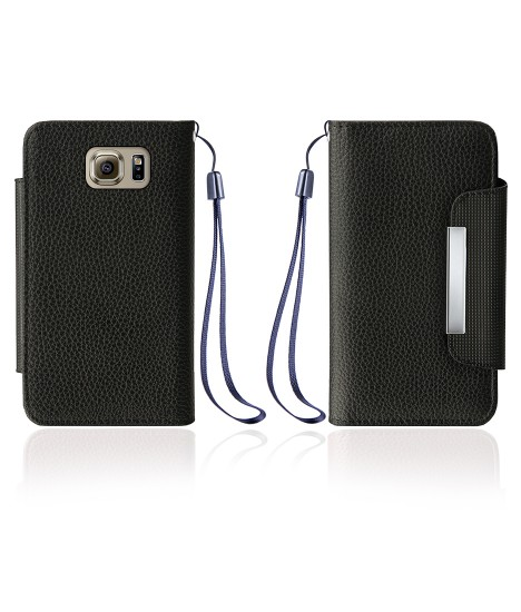 Leather Wallet Case With Clip for Samsung Galaxy S6 20232