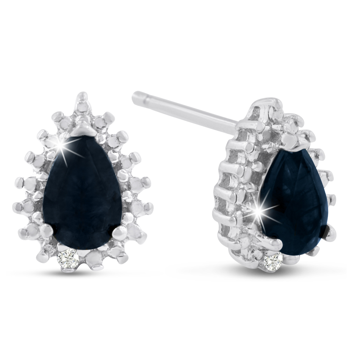 1 Carat Pear Shape Sapphire and Diamond Halo Stud Earrings In Sterling
