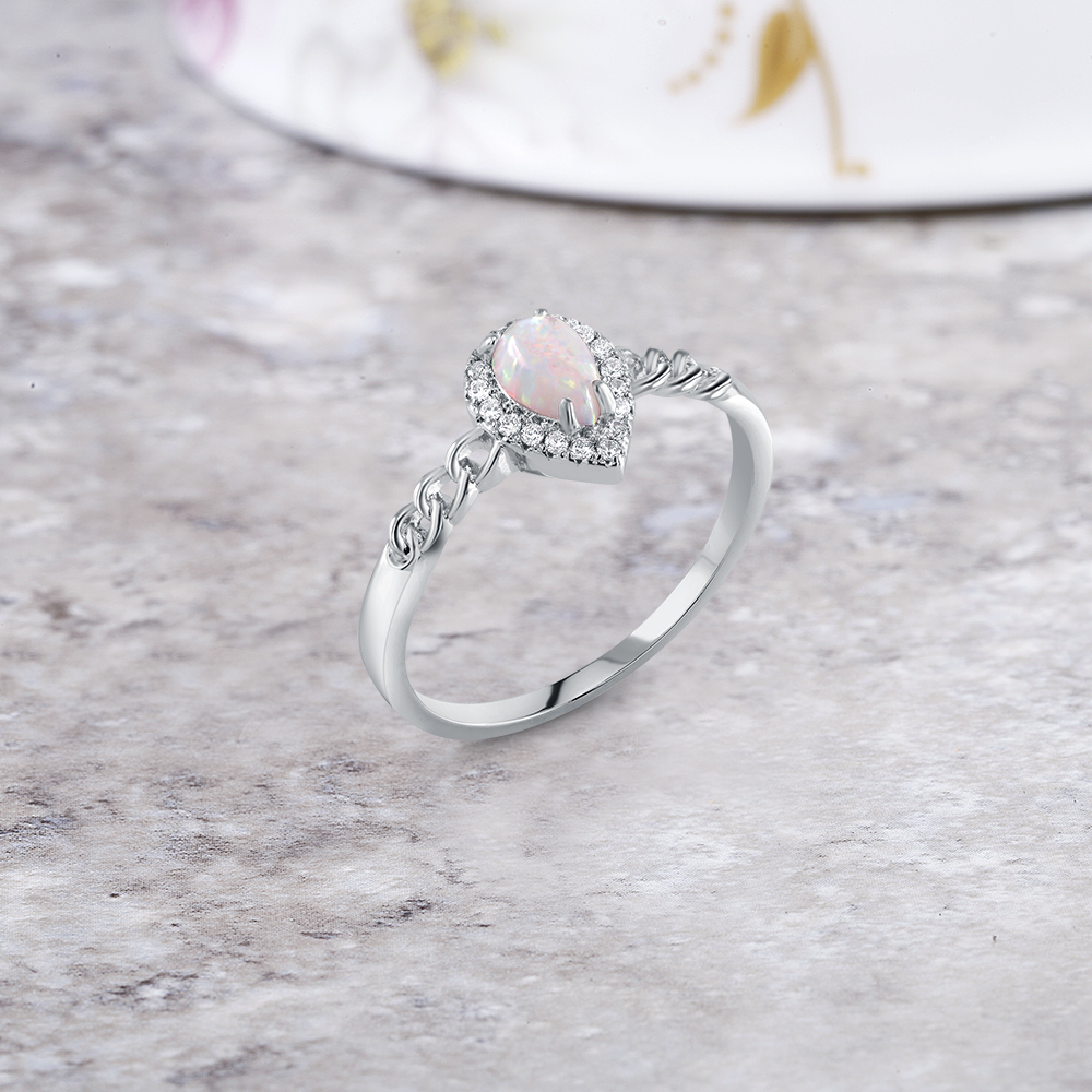 Genuine gemstone Pear Shaped Ring