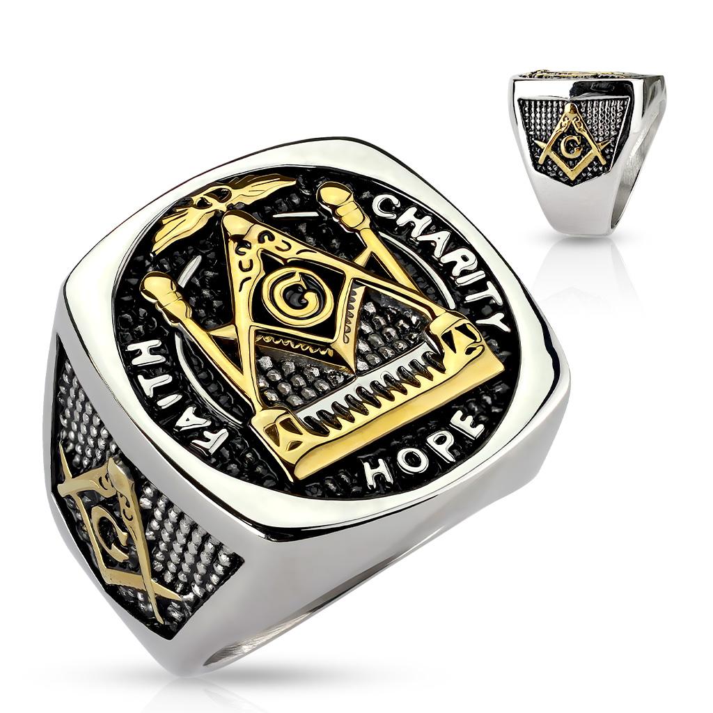 Men s Stainless Steel Faith Hope Charity Masonic Ring