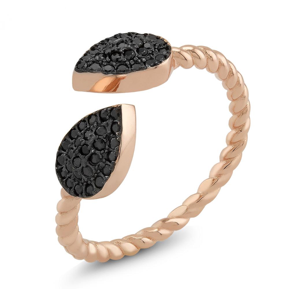Rose Tone Sterling Silver Black CZ Leaf Ring