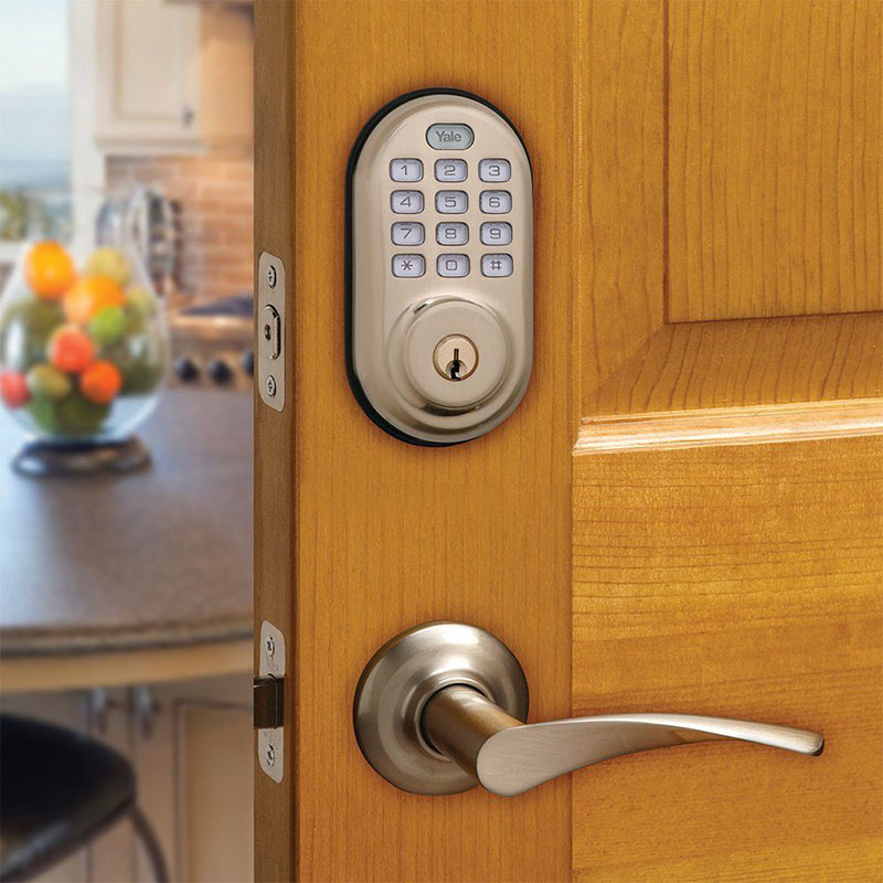 Yale Push Button Electronic Deadbolt With Optional Z Wave