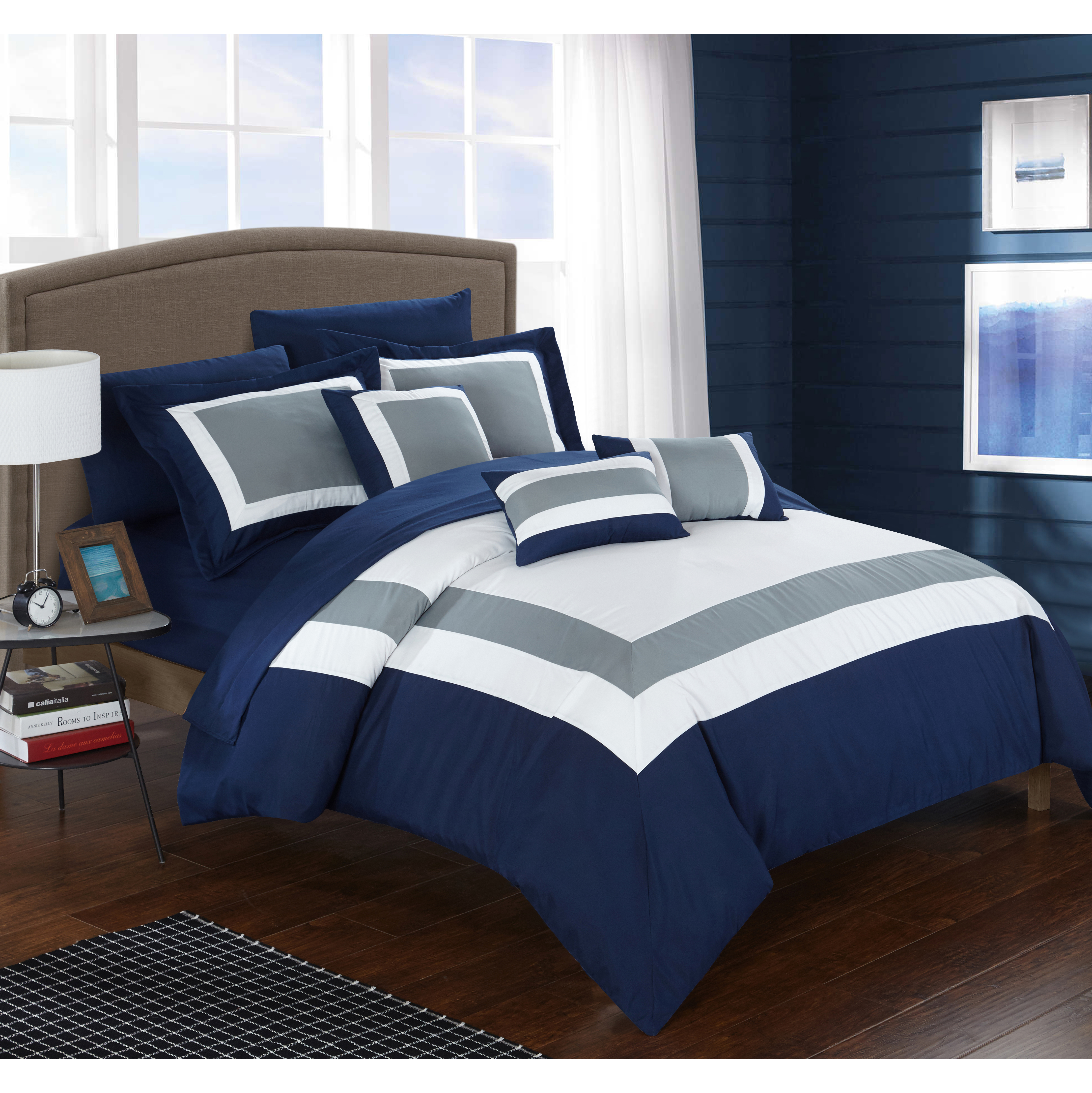 10 Piece Danny Colorblock Bed In A Bag Comforter Sets Tanga