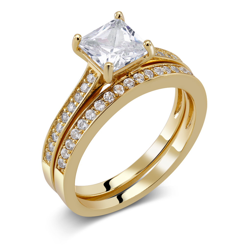 18kt Yellow Gold Plated Two Piece Bridal Ring Set