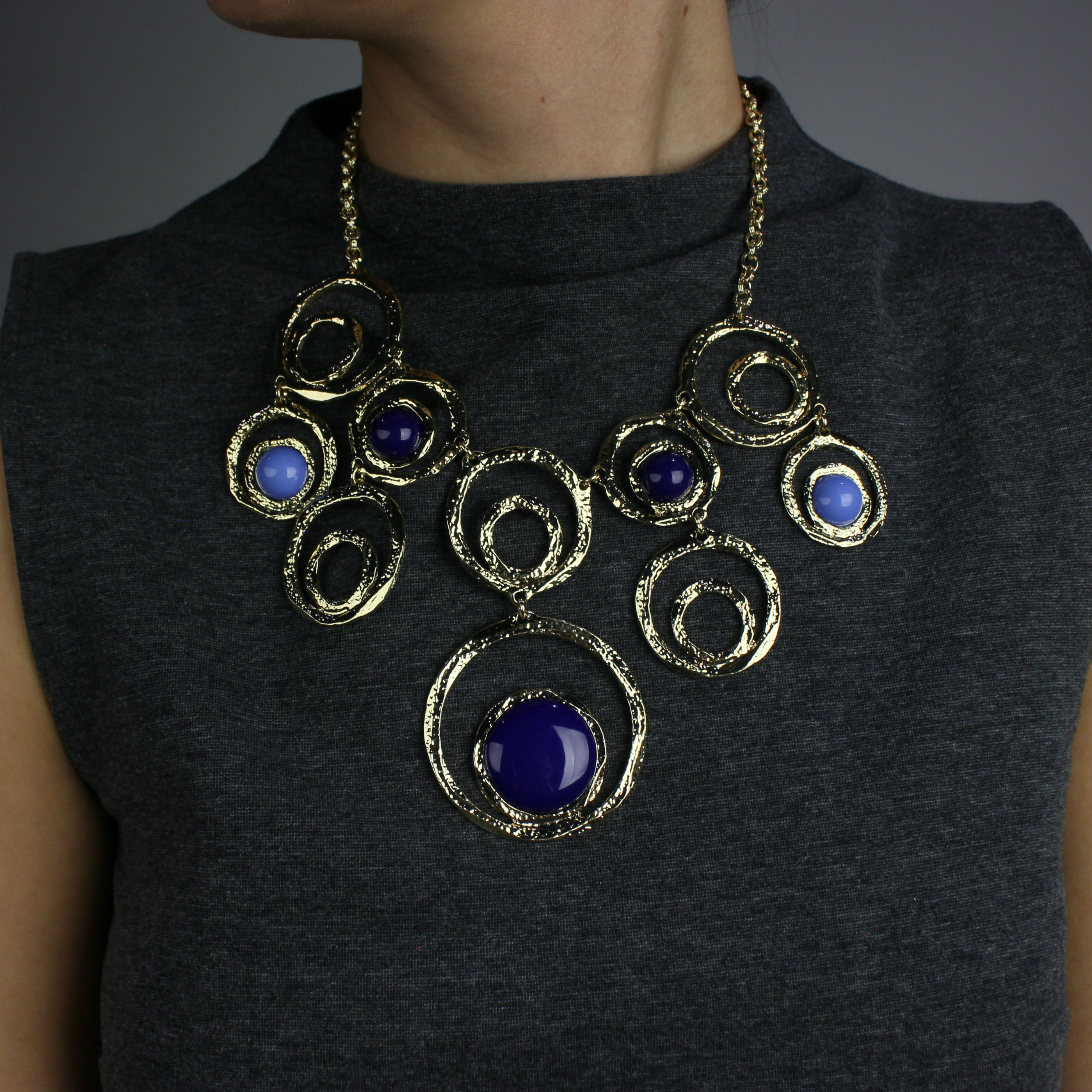 Textured Gold Plated Blue Resin Bib Necklace
