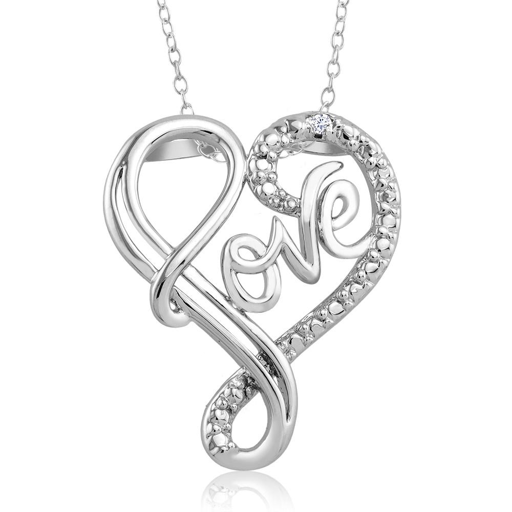 1 10 CTW Diamond Accent Necklace - Fancy Love