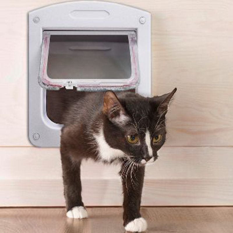4 Way Lockable Cat and Small Pet Door Easy to Install