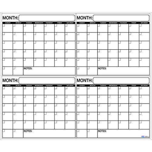 Dry Erase Wall Calendar Planner  amp  Organizer 4 Month Calendar 38 x 45