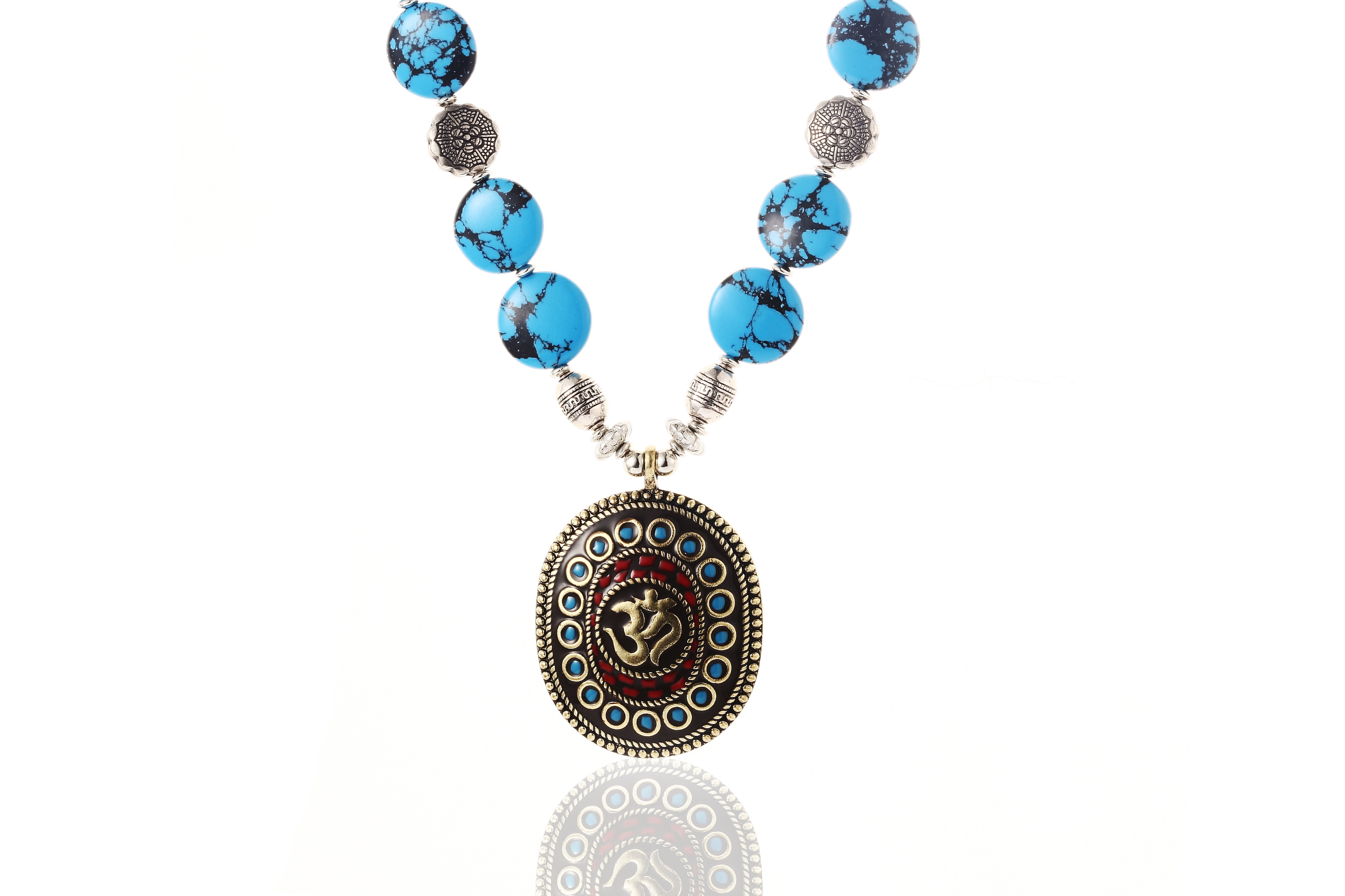 Om Natural Turquoise Bead Necklace