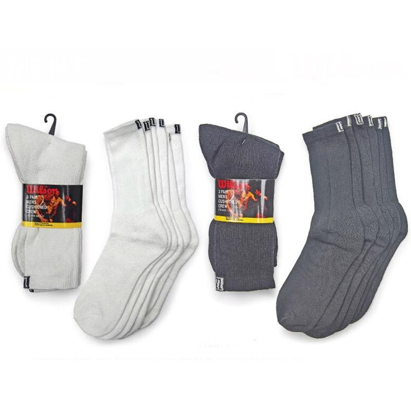 6 Pairs Wilson Men s Cushioned Crew Socks