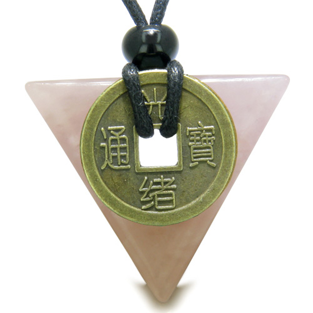 amulet triangle lucky coin charm rose quartz arrowhead. Black Bedroom Furniture Sets. Home Design Ideas