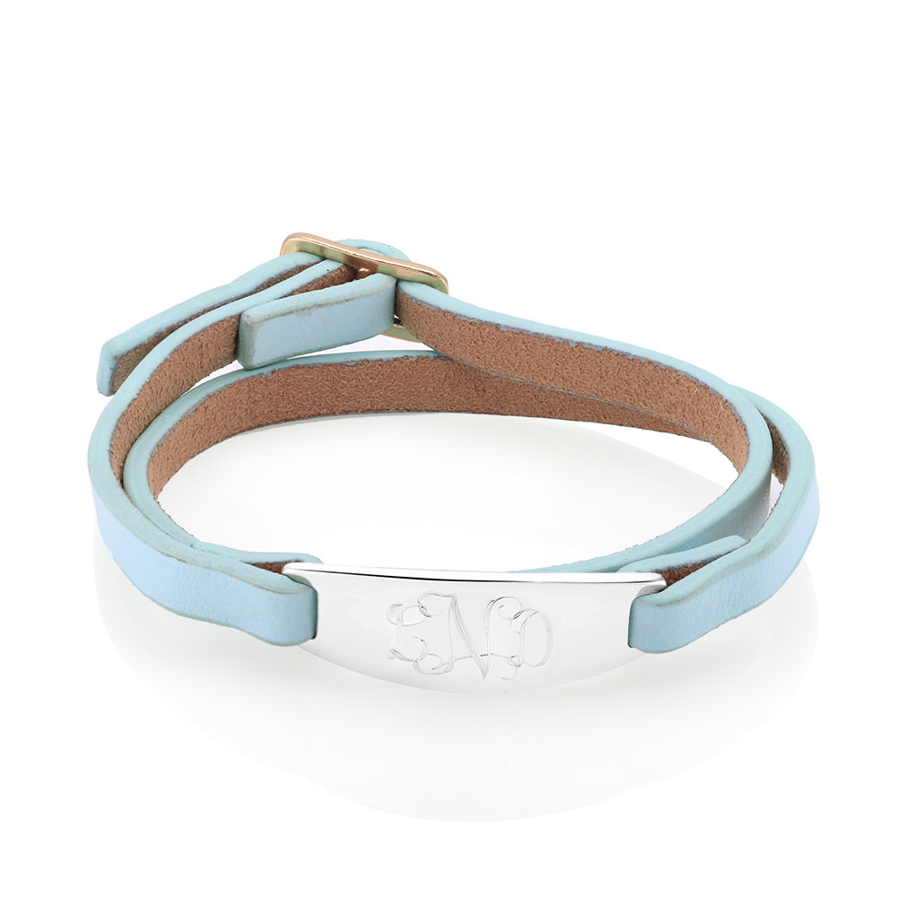 Personalized Light Blue Leather Bracelet with Free Gift!