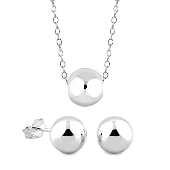 Sterling Silver Ball Earrings  amp  Necklace Set