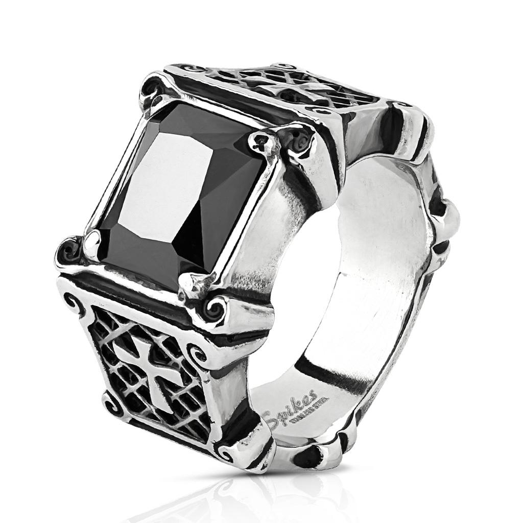 Men s Black Gemstone  amp  Cross Stainless Steel Ring