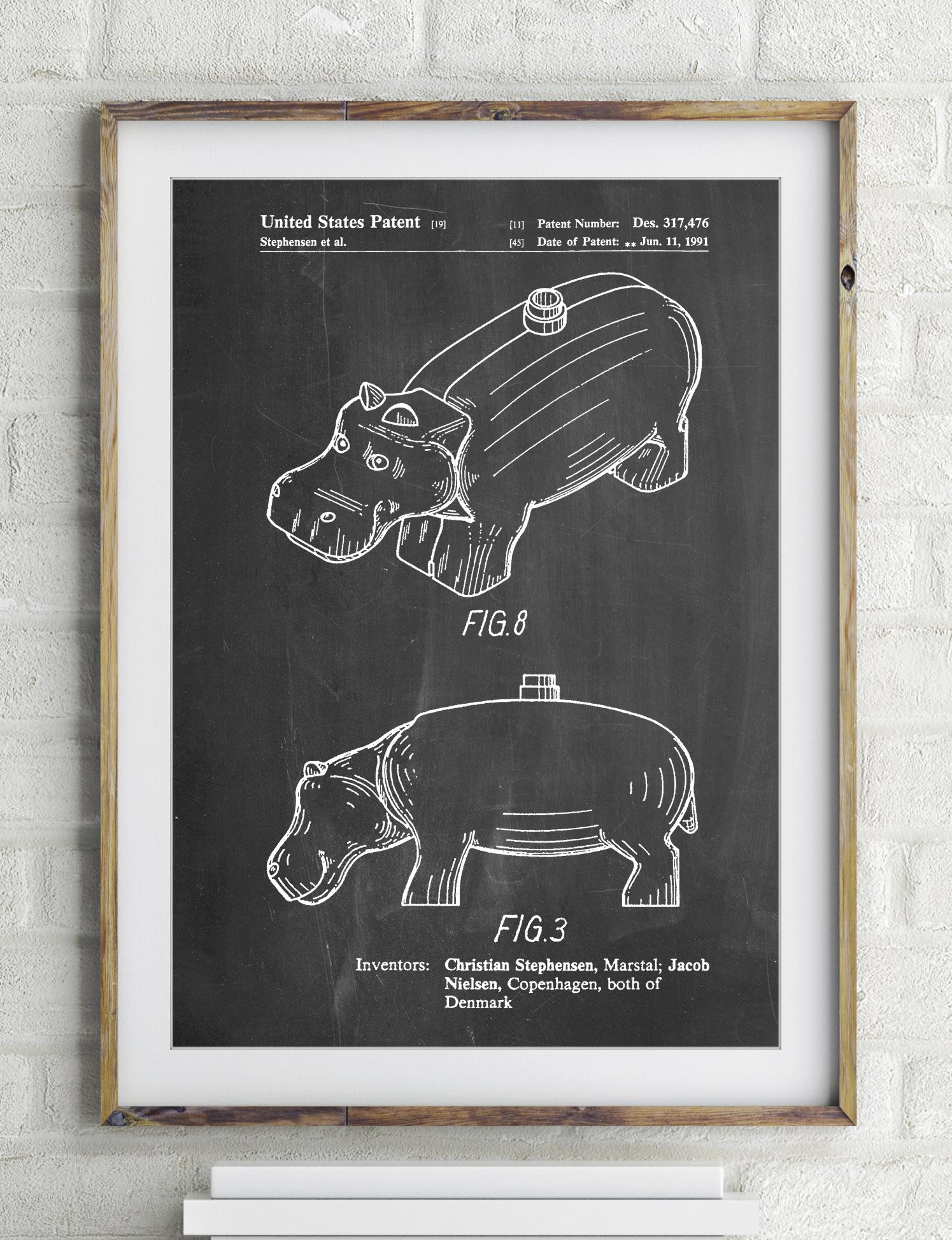 Lego Hippopotamus Patent Poster