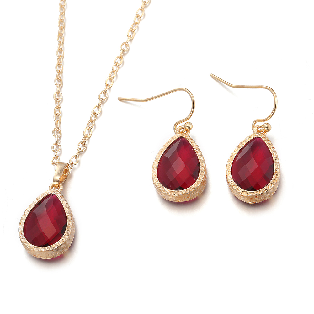 Gold Plated Ruby Jewels Necklace  amp  Earrings Set