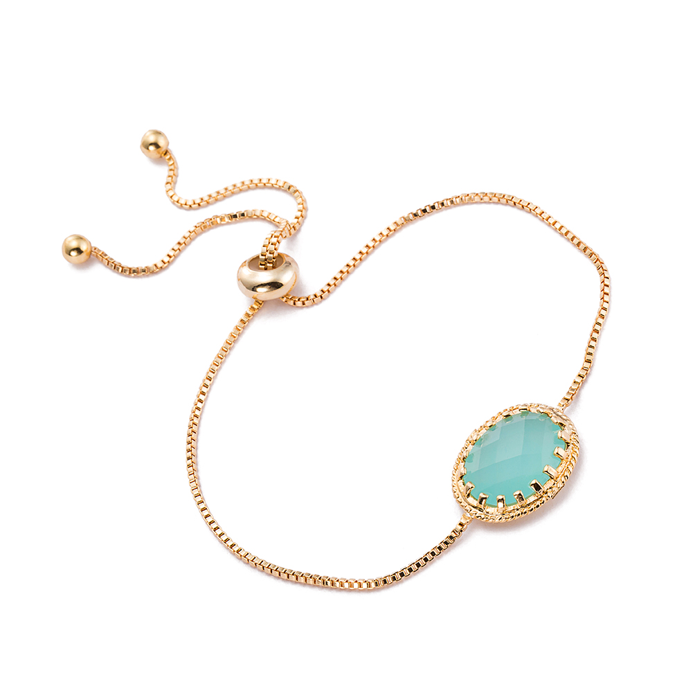 Gold Plated Turquoise Crystal Classic Gem Bracelet