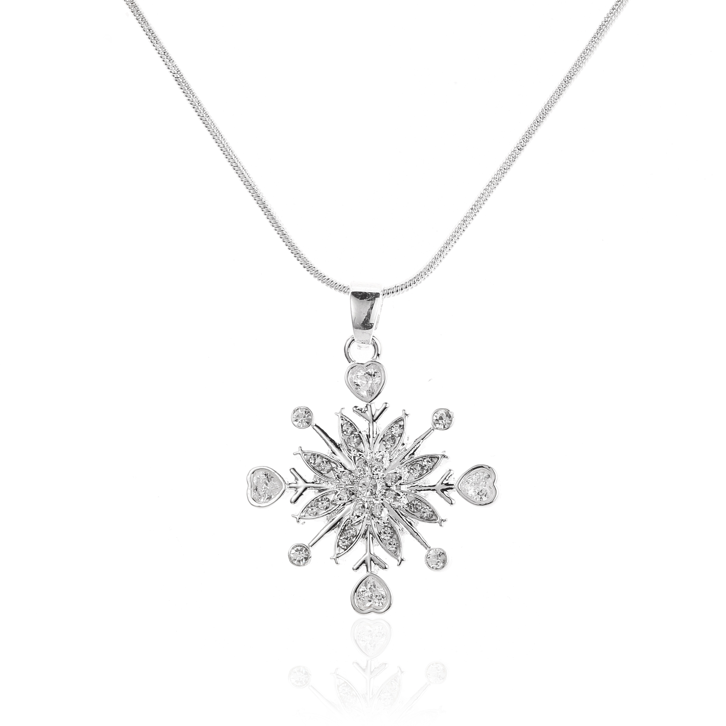 Zirconia Snowflake Pendant Necklace