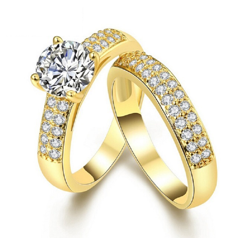 18kt Yellow Gold 2 Piece Ring Set