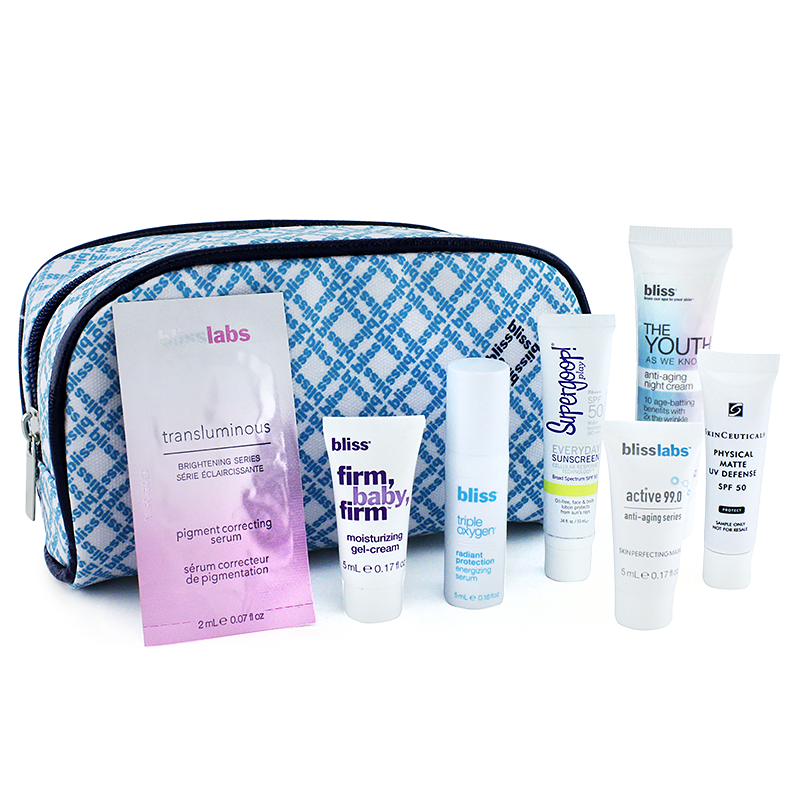 BLISS Printed Cosmetic Bag with 7 Travel Size Anti-Aging Essentials 8664569
