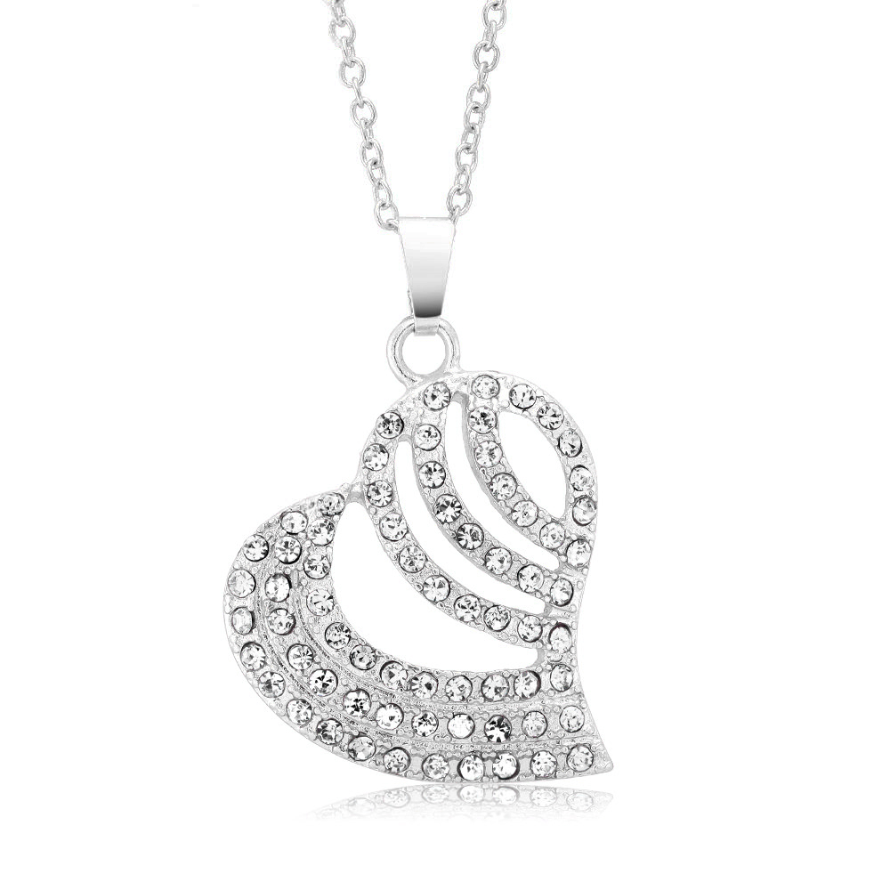 Crystal Studded Striped Heart Necklace - 3 Colors