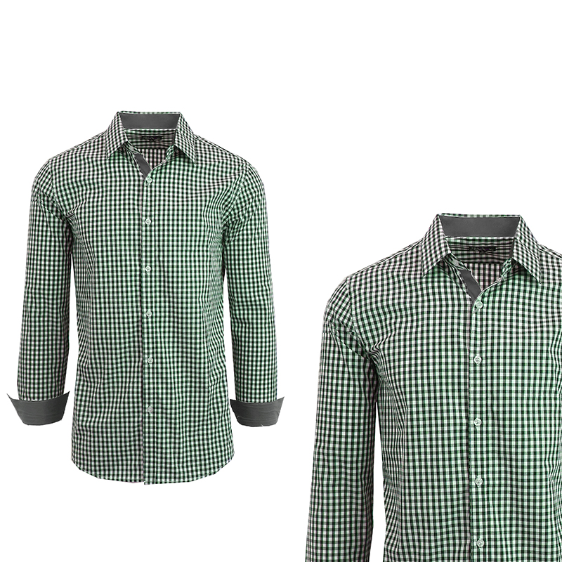 Men 39 s long sleeve gingham plaid dress shirt s 2x bellechic for Mens gingham dress shirt