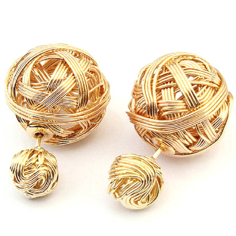 Gold Plated Wire Ball Reversible Stud Earrings