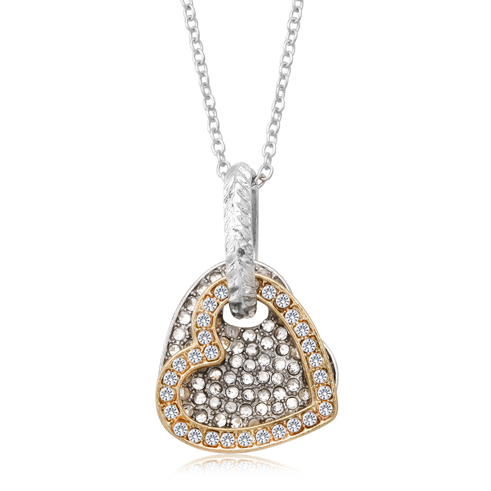 Two Tone Rose Gold Plated Cubic Zirconia Heart Necklace