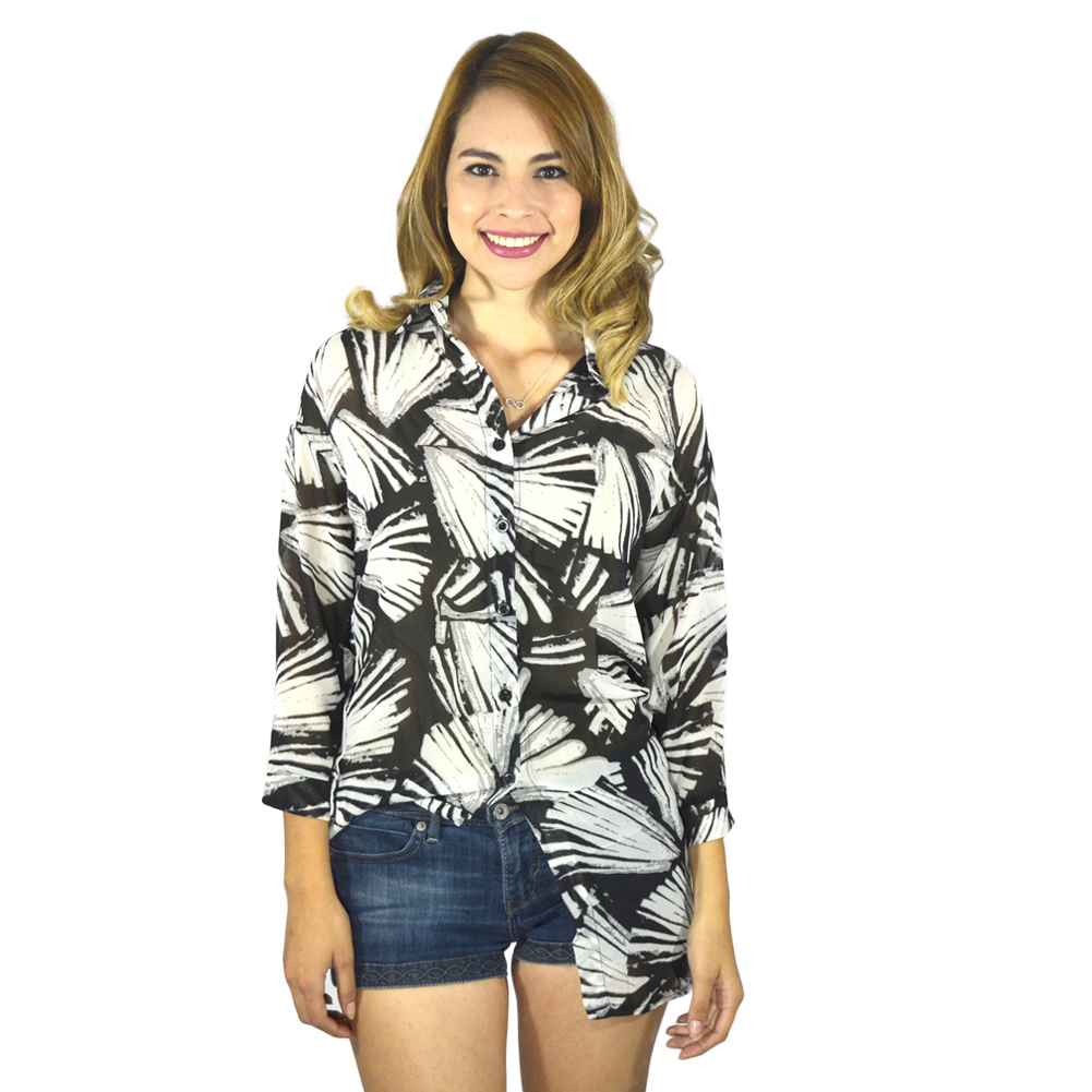 Tribal Print Long Sleeve Black Blouse Tanga