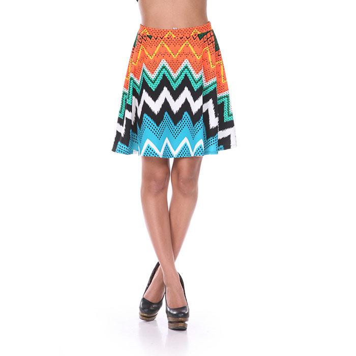 Orange  amp  Blue Chevron Print Skater Skirt