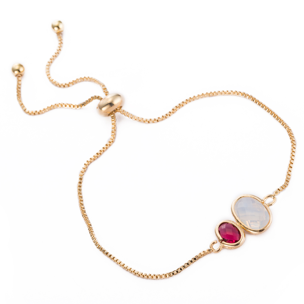 Gold Plated Duo Circular Ruby  amp  Crystal Gem Bracelet