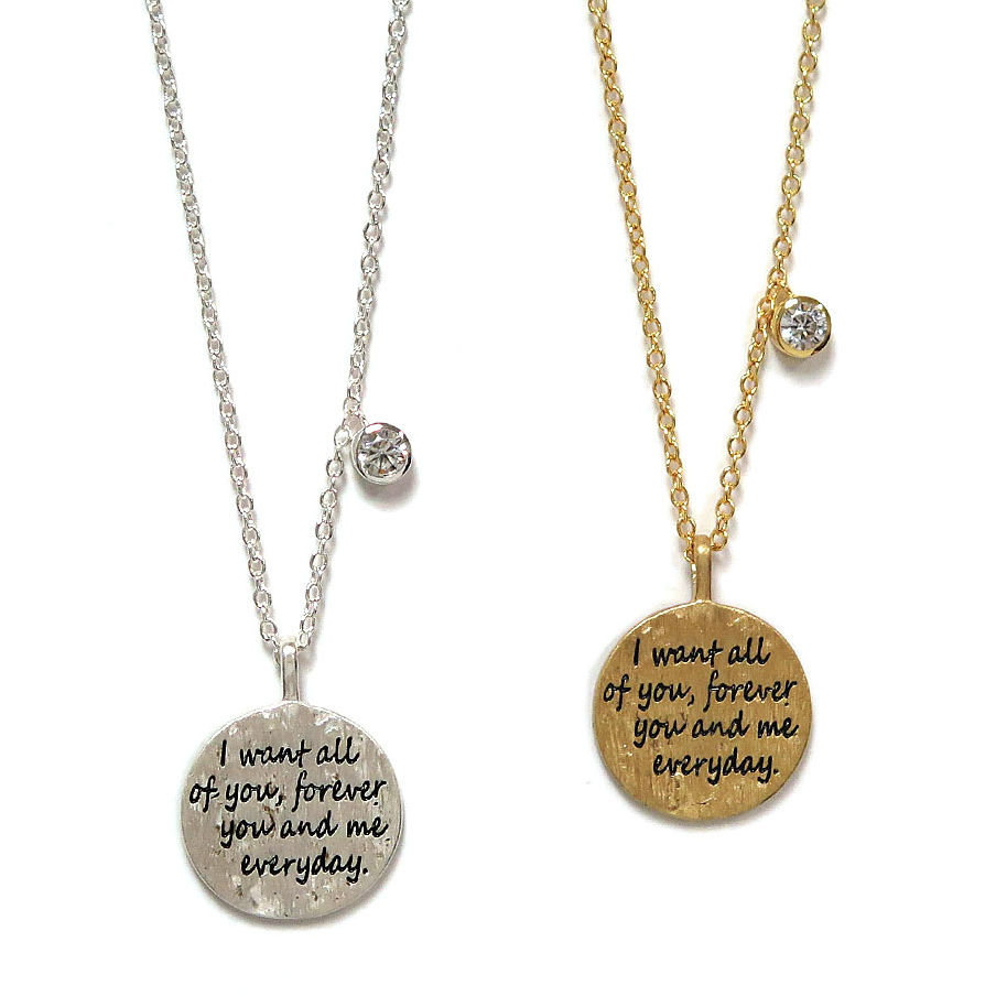 I Want All of You, Forever Charm Pendant Necklace - 2 Colors