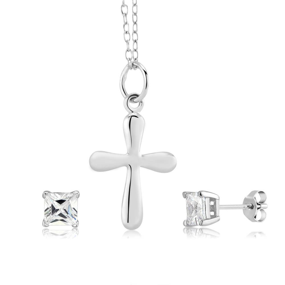 Sterling Silver Cross Necklace  amp  CZ Stud Earring Set