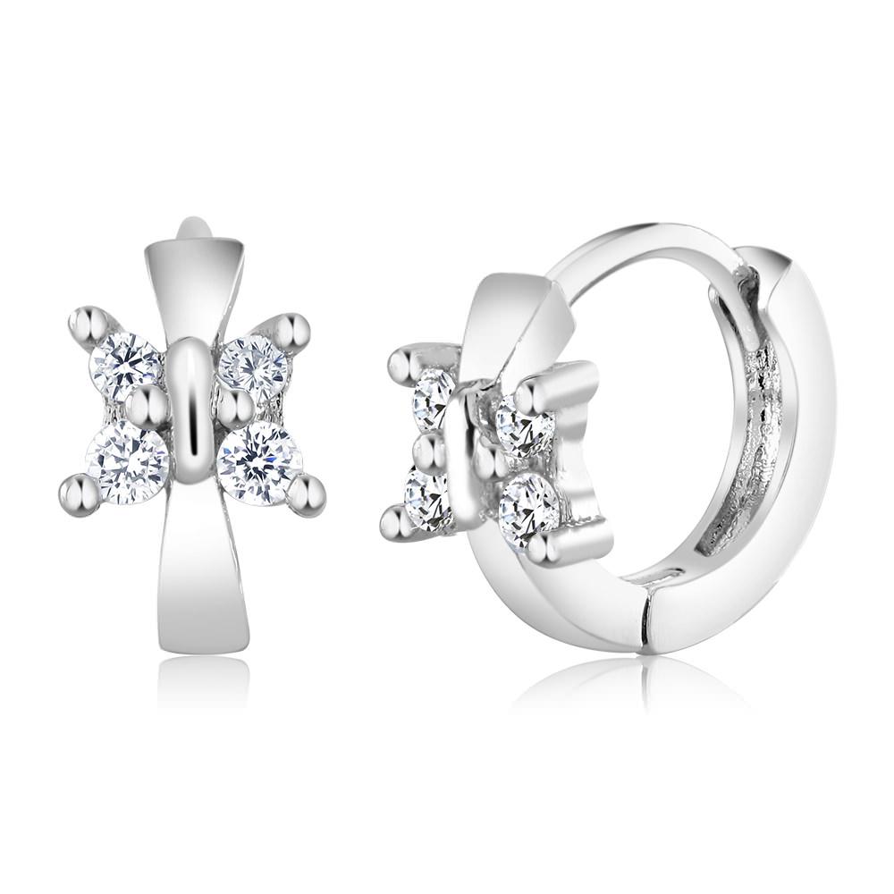 Cubic Ziriconia Butterfly Huggie Earrings