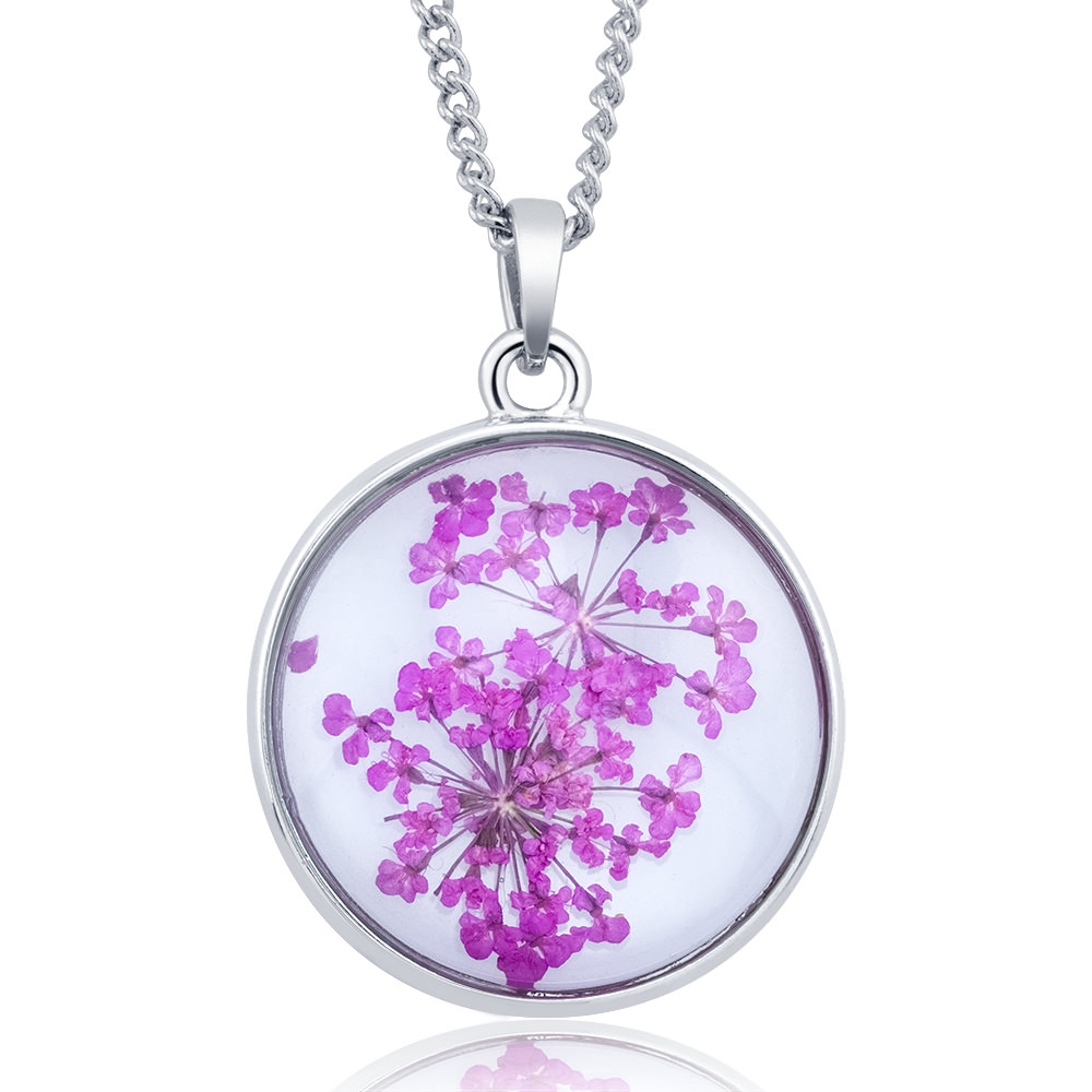 Pressed Dried Flower Glass Pendant Necklaces - Assorted Styles 5917427