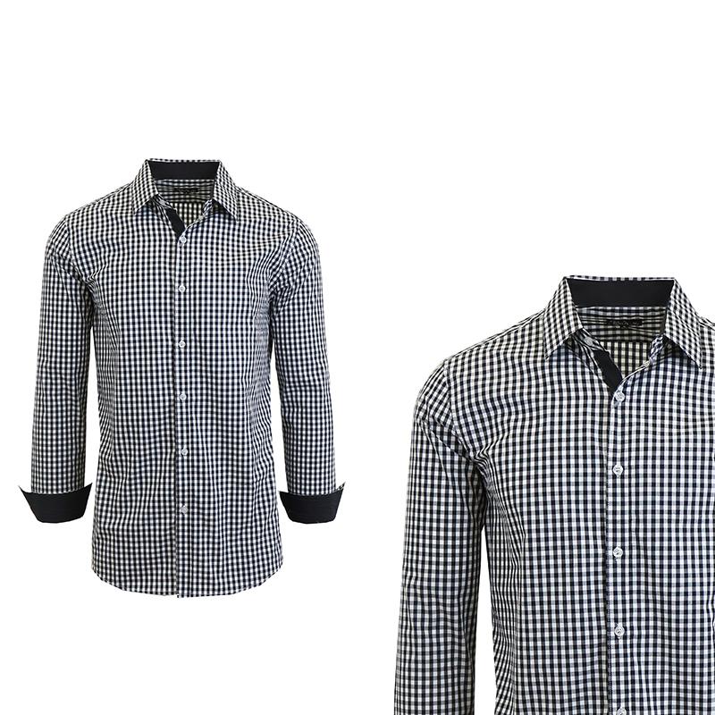 Men 39 s long sleeve gingham plaid dress shirt s 2x tanga for Mens gingham dress shirt