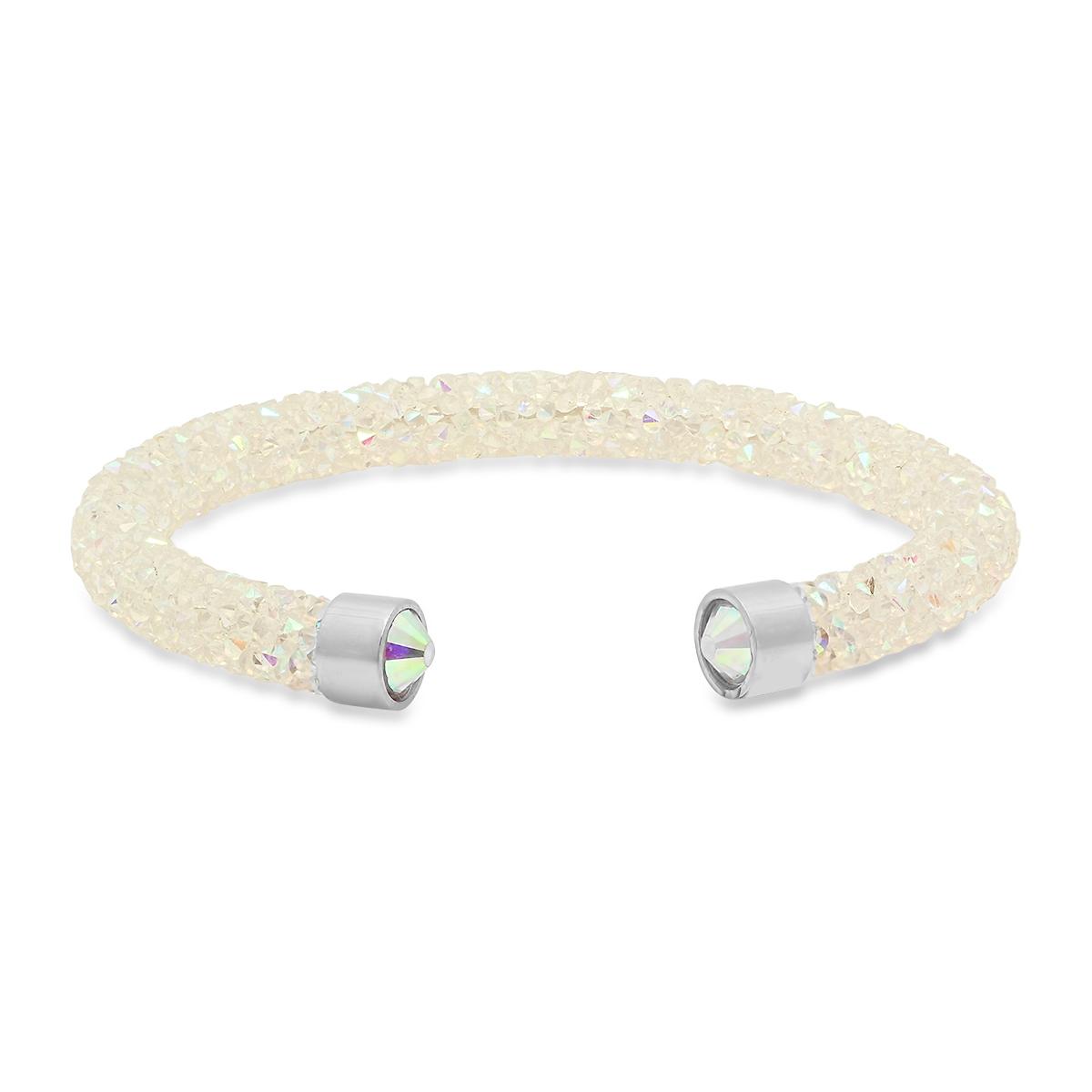 Stainless Steel Aurora Borealis Crystal Adjustable Cuff Bracelet