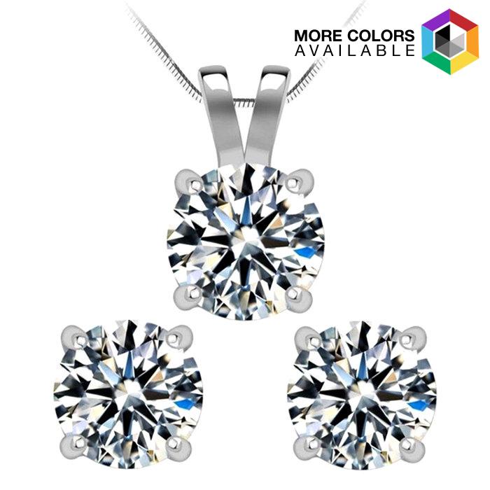 14k Gold 1.50cttw Diamond Stud Earrings  amp  Necklace Set